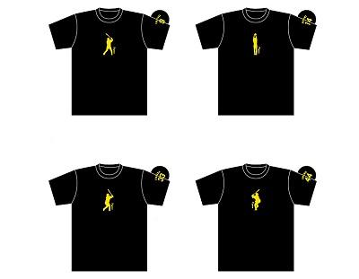 刺繍Tシャツ(ブラック×イエロー)