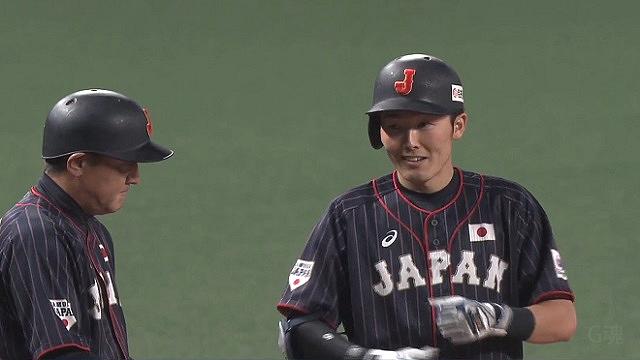 日米野球笑顔の源田