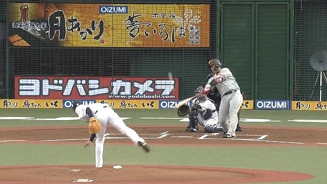2019オープン戦vs西武 岡本HR