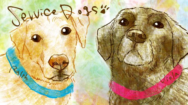 介助犬ヴィオラとラルフの絵