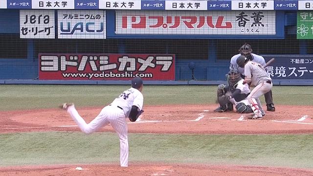 ヤクルト戦 2回ツーアウト満塁で押し出しの四球を選ぶ増田