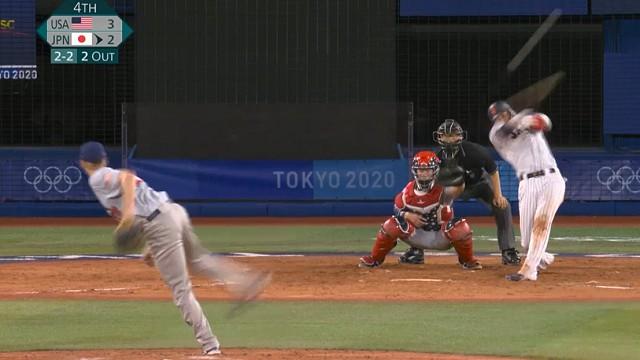 東京オリンピック野球競 日本対アメリカ 4回坂本同点タイムリーヒット