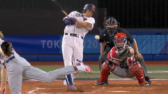 東京オリンピック野球競 日本対アメリカ 2回ギータセンター前ヒット