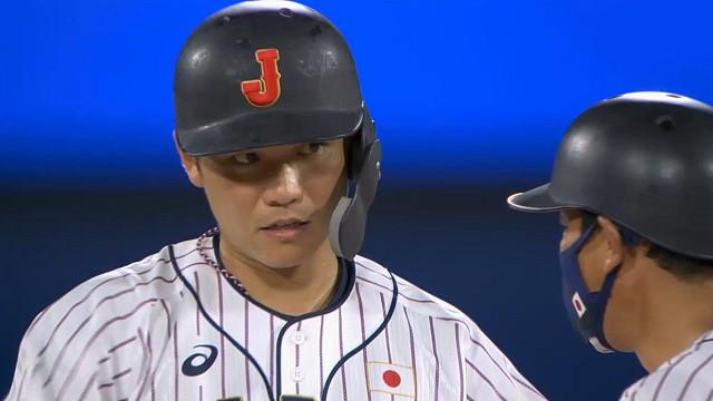 東京オリンピック野球競 日本対アメリカ 4回坂本同点タイムリーヒット後
