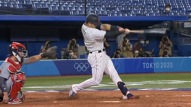 東京オリンピック野球競 日本対アメリカ 5回鈴木誠也ソロホームラン